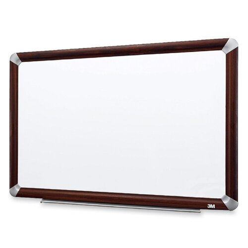 Dry-Erase Board Melamine Mahogany Frame Wall Mounted Whiteboard by 3M