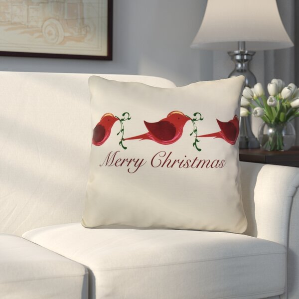 Decorative Holiday Word Print Throw Pillow by Alcott Hill