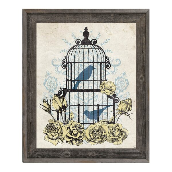 Shabby Bird Cage with Flowers Framed Graphic Art on Canvas by Click Wall Art