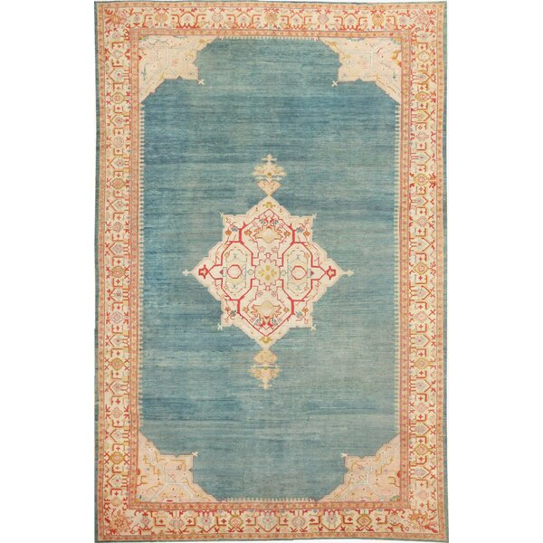One-of-a-Kind Turkish Hand-Knotted 1900s Teal 10'7 x 16'8 Wool Area Rug