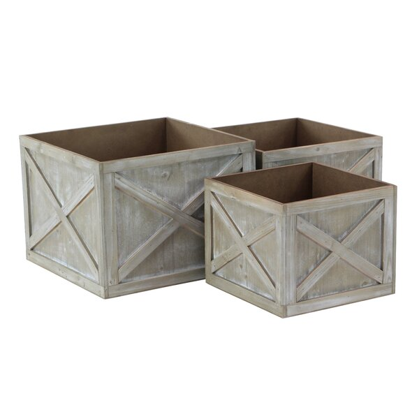 Farmhouse Faded Square 3-Piece Planter Box Set by Cole & Grey