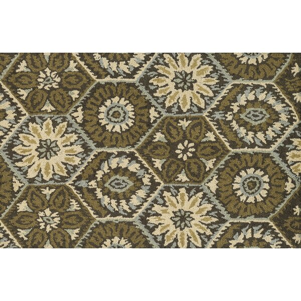 Keffer Hand-Hooked Brown/Green Area Rug by Alcott Hill