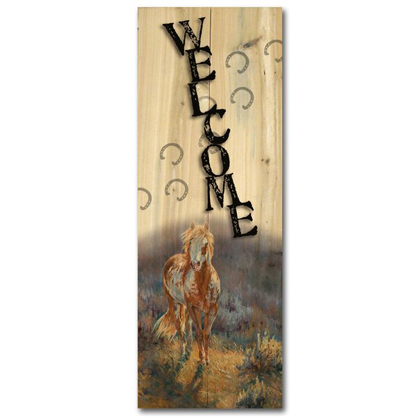 Welcome Sage Graphic Art Plaque by WGI-GALLERY