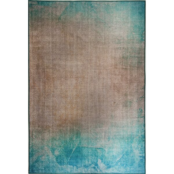 Brody Turquoise/Beige Area Rug by Ebern Designs