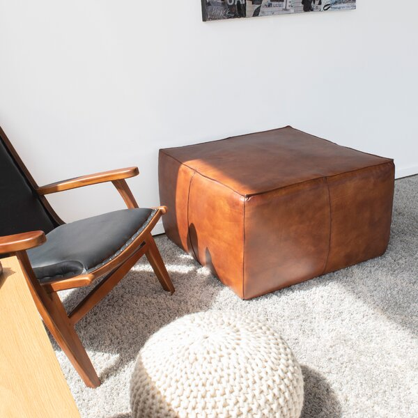 Gulick Leather Cocktail Ottoman By Union Rustic