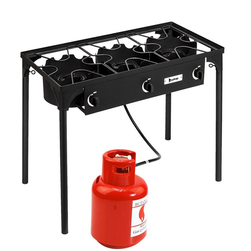 Triple Burner Angle Iron Camping Stove Propane Gas Single Heavy Duty Burner