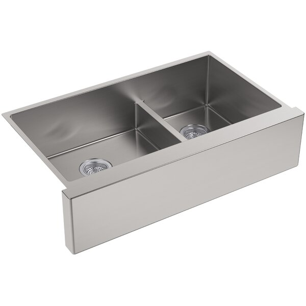 Strive 35.5 x 21.25 Self-Trimming SmartDivide Undermount Double-Bowl Kitchen Sink by Kohler