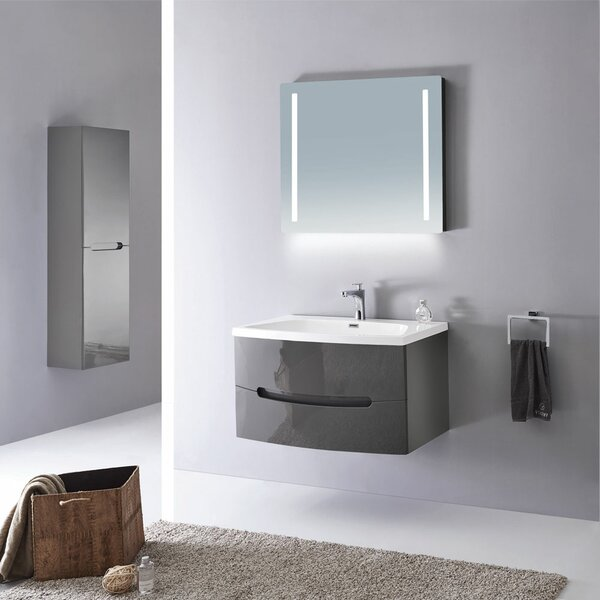 Kattie 40 Wall-Mounted Single Bathroom Vanity Set with Mirror