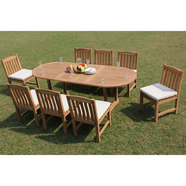 Riey 9 Piece Teak Dining Set by Rosecliff Heights