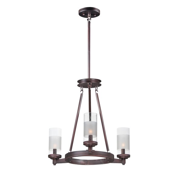 Appomattox 3-Light Shaded Wagon Wheel Chandelier by Charlton Home Charlton Home