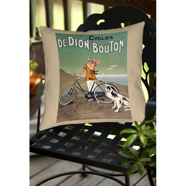 Cycles De Doin Bouton Indoor/Outdoor Throw Pillow by Manual Woodworkers & Weavers