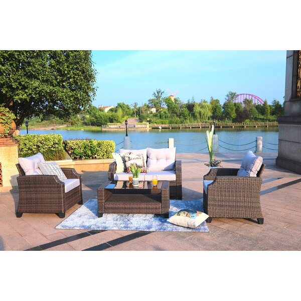 Mccall 4-Piece Sofa Seating group with Luxury Cushions Lounge Set