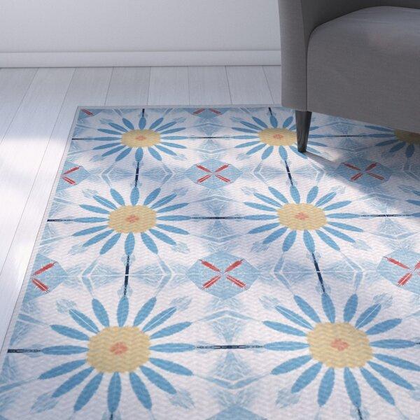 Abbie Blue/Yellow Indoor/Outdoor Area Rug by Ebern Designs