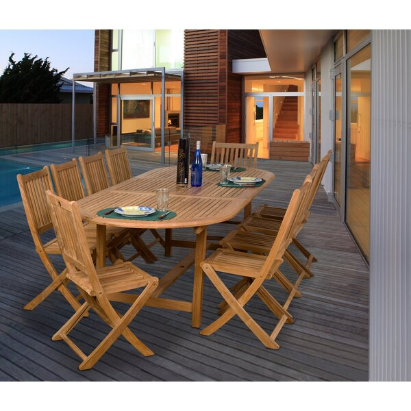 Mcpeters International Home Outdoor 11 Piece Teak Dining Set by Highland Dunes