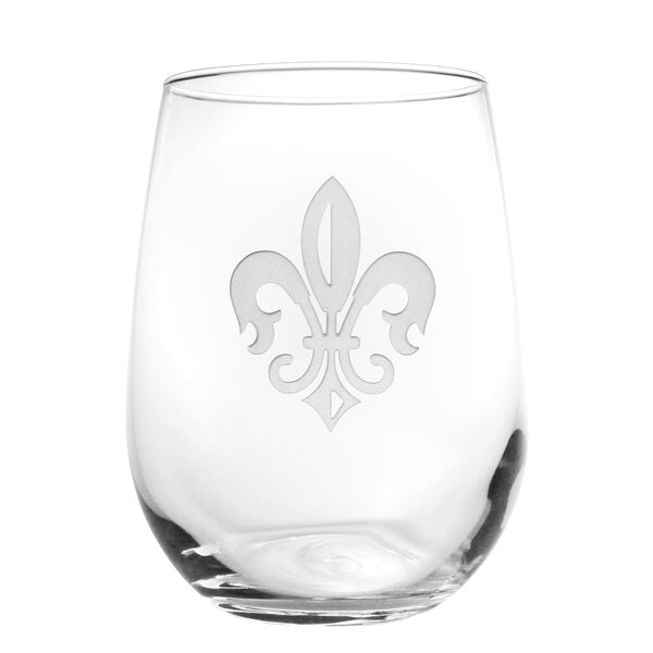 Grand Fleur De Lis 17 Oz. Stemless Wine Glass (Set of 4) by Rolf Glass