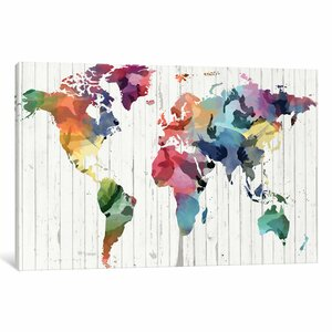 Wood Watercolor World Map Graphic Art on Wrapped Canvas by Wrought Studio