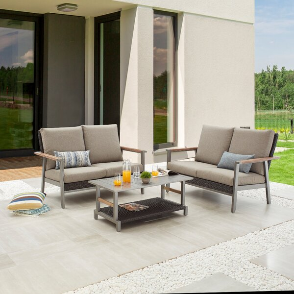 Sacide Outdoor 3 Piece Sofa Seating Group with Cushions by Latitude Run