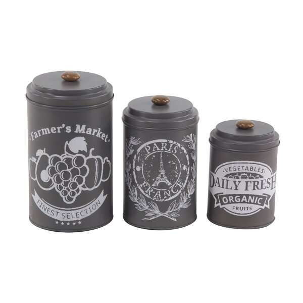 Vicknair Tin 3 Piece Kitchen Canister Set by Ophelia & Co.