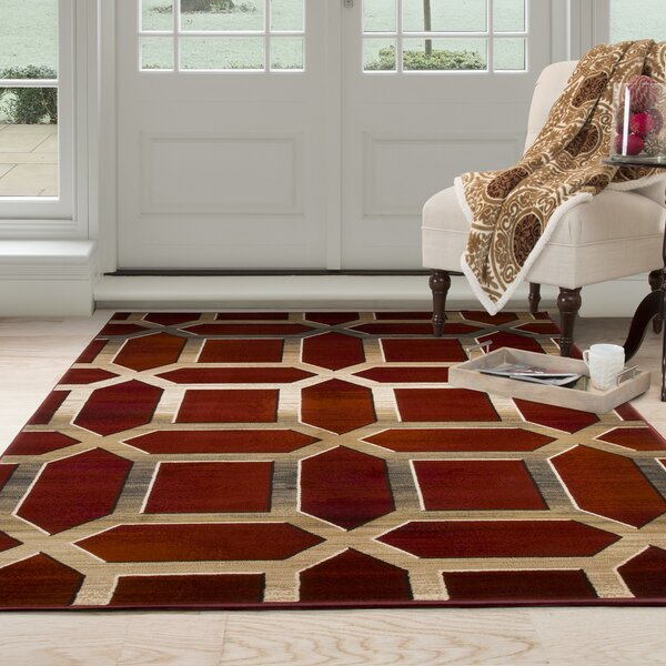Flushing Burgundy Area Rug by Wrought Studio