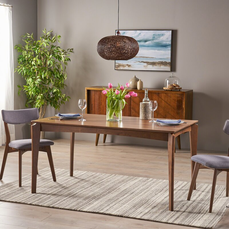 Escalante Mid-Century Solid Wood Dining Table