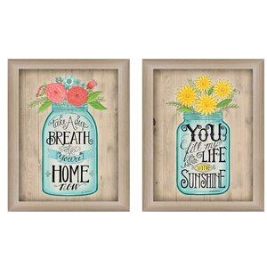 Mason Jars I 2 Piece Framed Painting Print Set by Trendy Decor 4U