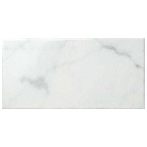 Karra Carrara 3 x 6 Ceramic Subway Tile in Glossy White/Gray by EliteTile