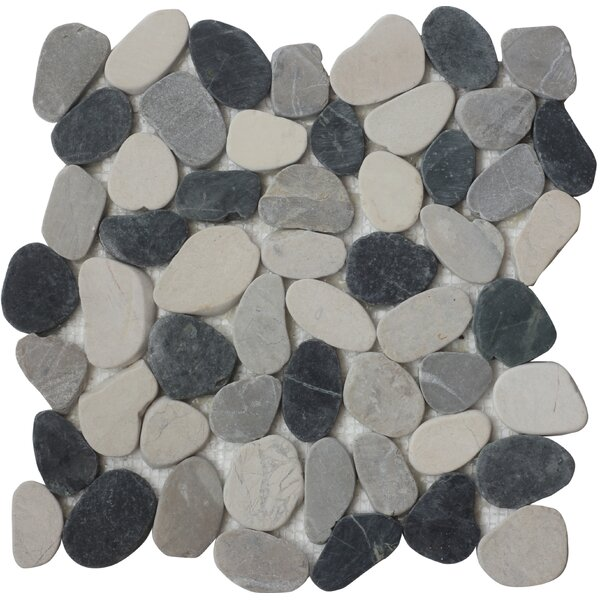 Quartz Random Sized Natural Stone Mosaic Tile in Black/Gray by FuStone