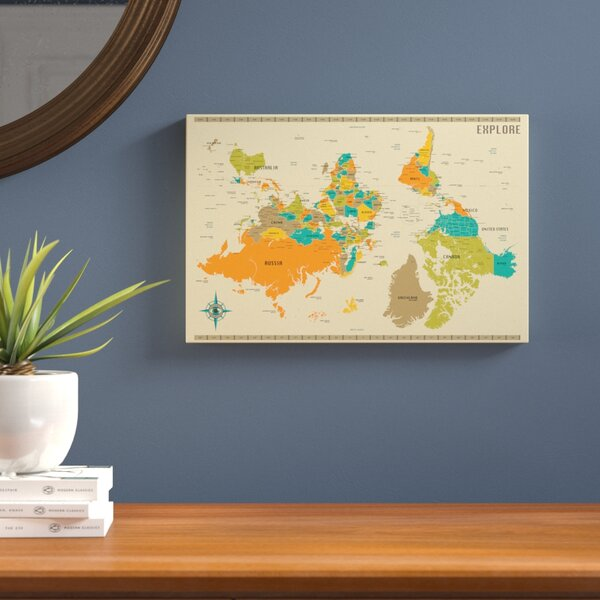 Upside Down New World Map Graphic Art on Wrapped Canvas by Langley Street