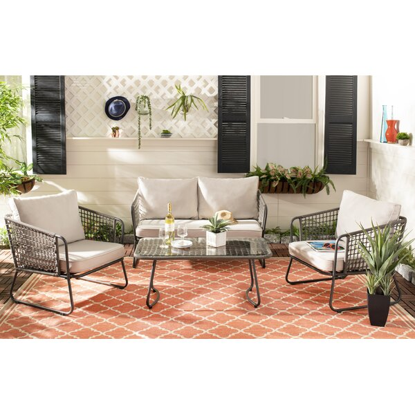 Conley 4 Piece Rattan Sofa Seating Group with Cushions by Bungalow Rose