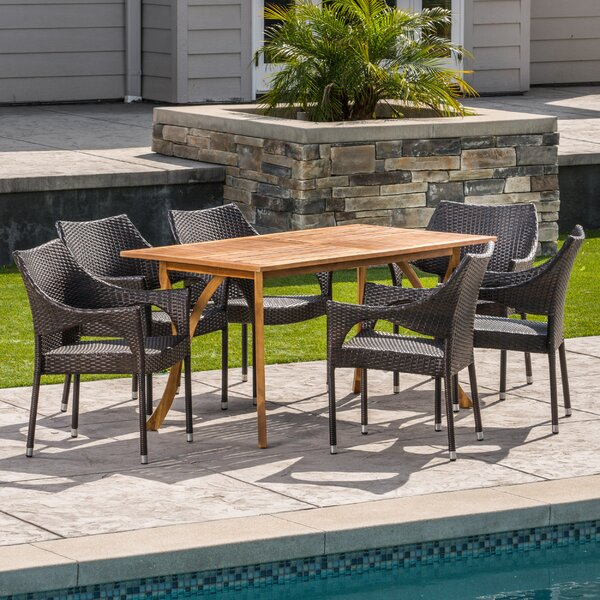 Henegar Outdoor Acacia Wood/Wicker 7 Piece Dining Set by Wrought Studio