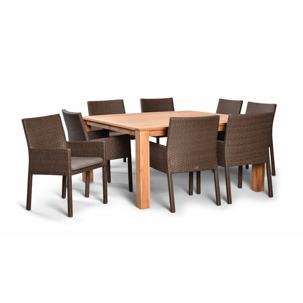 Hodge 9 Piece Teak Dining Set by Rosecliff Heights