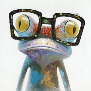 Revealed Artwork Hipster Froggy I Painting on Wrapped Canvas by Yosemite Home Decor
