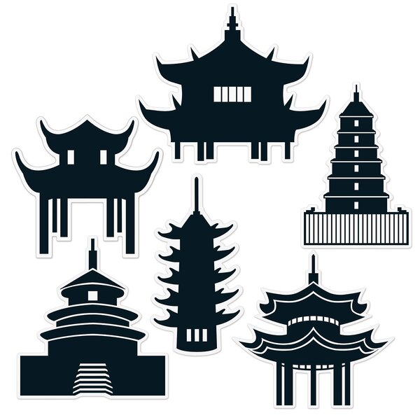 6 Piece Pagoda Silhouette Standup Set (Set of 3) by The Beistle Company