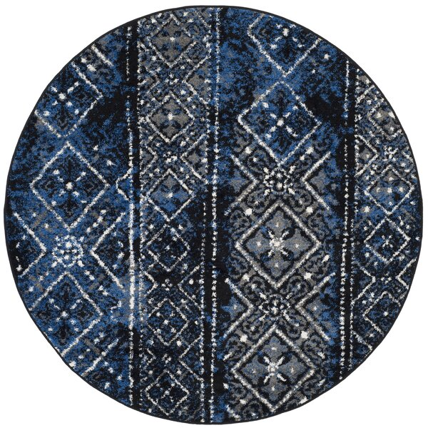 Josie Silver & Black Area Rug by World Menagerie