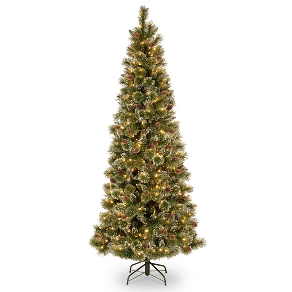 Slim 78 Green Pine Artificial Christmas Tree with 400 Clear Lights with Stand by Loon Peak