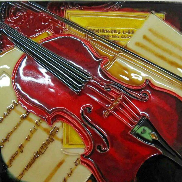 Red Violin Painting Tile Wall Decor by Continental Art Center
