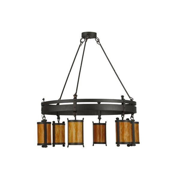 Bertina 6 - Light Lantern Wagon Wheel Chandelier by 17 Stories 17 Stories