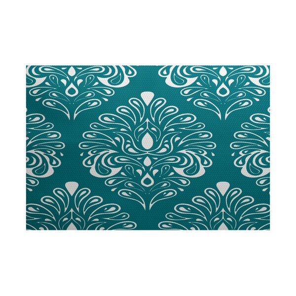 Rhymer Teal Indoor/Outdoor Area Rug by Charlton Home