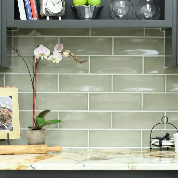 Leila 4 x 12 Ceramic Subway Tile in Dove by Grayson Martin