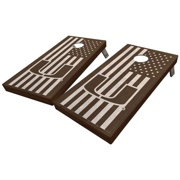 University of Miami Stained American Flag 10 Piece Cornhole Set by West Georgia Cornhole