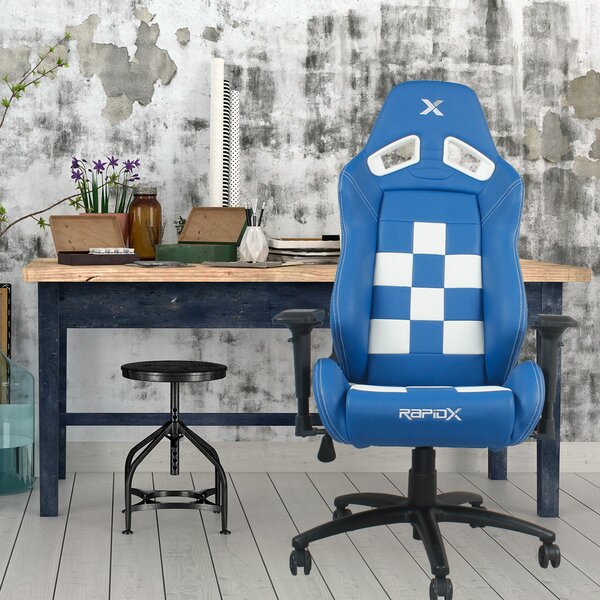 Finish Line on Back Checkered Flag Gaming Chair by RapidX