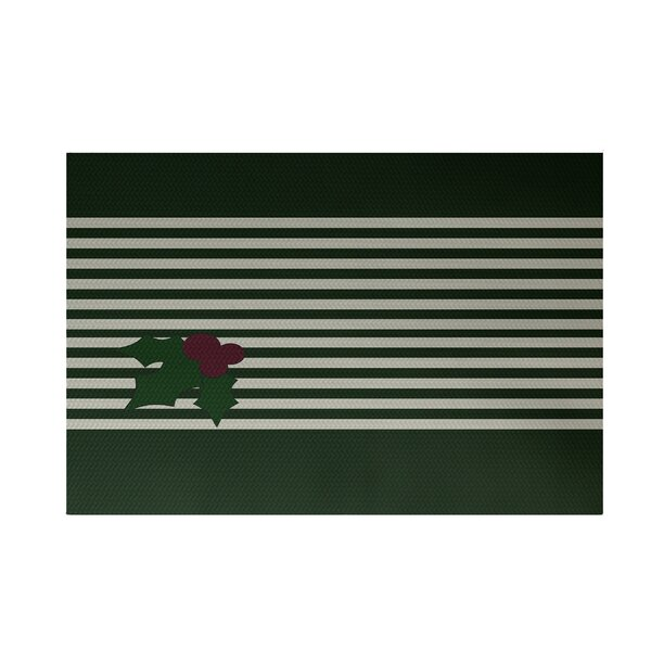 Holly Stripe Decorative Holiday Stripe Print Dark Green Indoor/Outdoor Area Rug by The Holiday Aisle