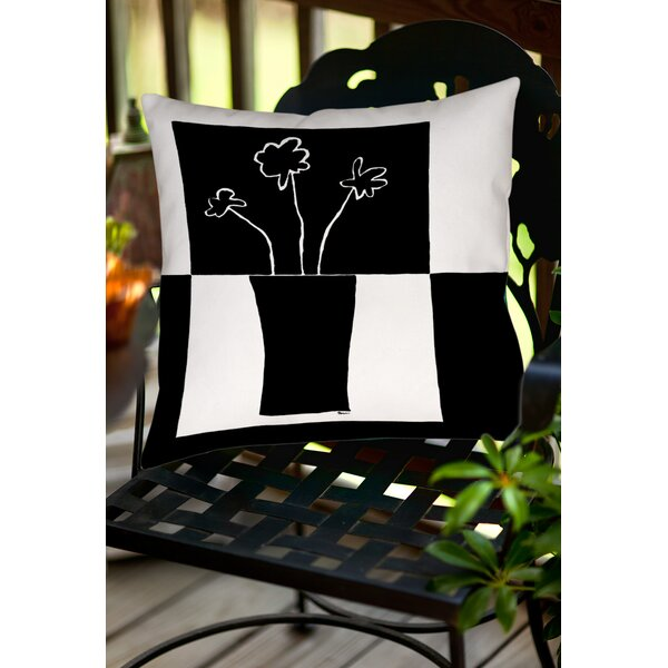 Minimalist Flower in Vase 2 Indoor/Outdoor Throw Pillow by Manual Woodworkers & Weavers