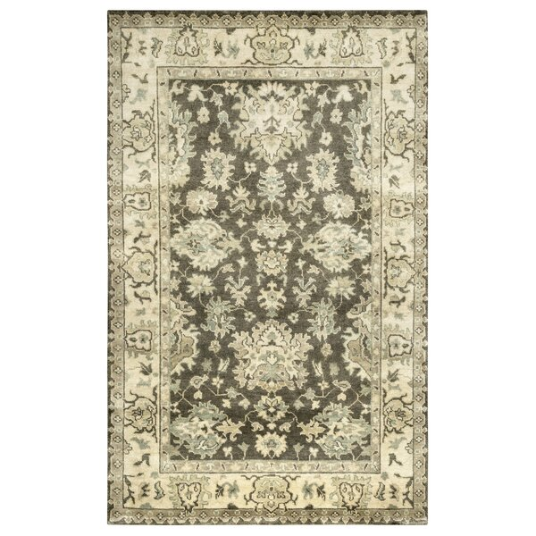 Rojo Hand-Knotted Charcoal/Beige Area Rug by Meridian Rugmakers