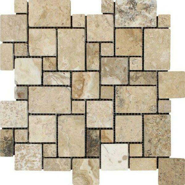 Philadelphia Tumbled Versailles 12 x 12 Travertine Mosaic Tile