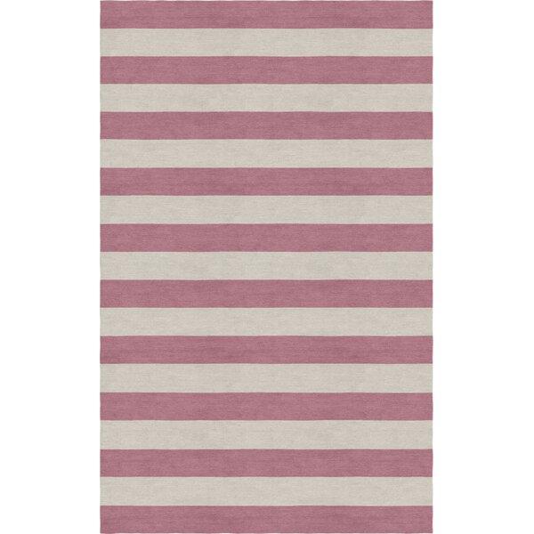 Mcleod Stripe Hand-Woven Wool Silver/Purple Area Rug by Latitude Run