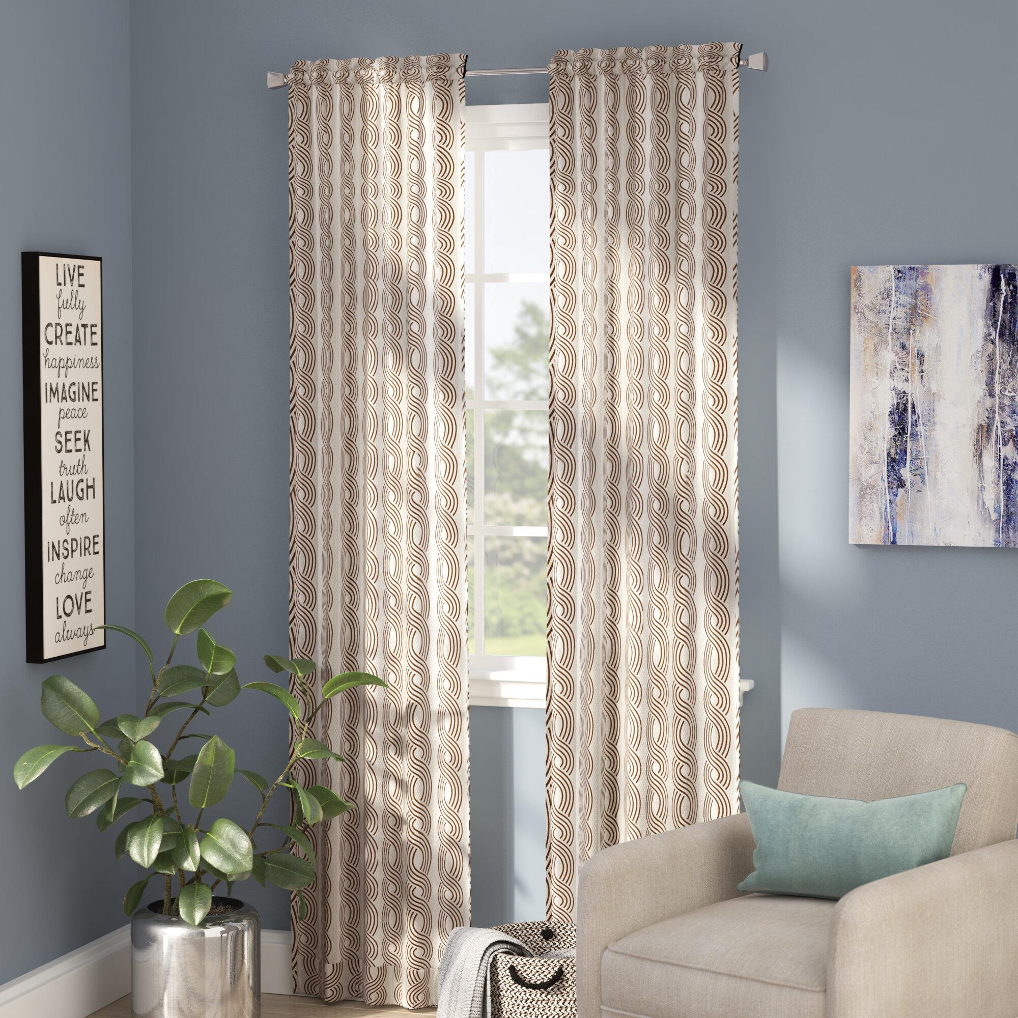 Zipcode Design Kimber Geometric Semi-Sheer Rod Pocket Curtain Panels ...