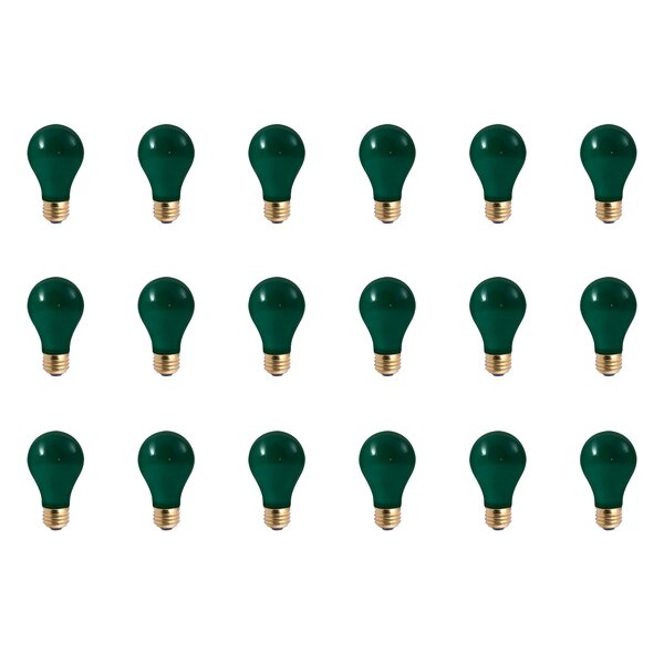 25W E26 Dimmable Incandescent Light Bulb Green (Set of 18) by Bulbrite Industries