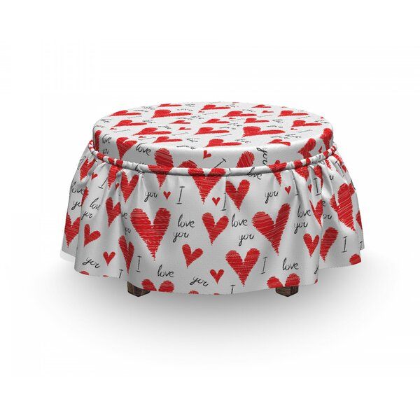 Love Hand Writing Valentines 2 Piece Box Cushion Ottoman Slipcover Set By East Urban Home