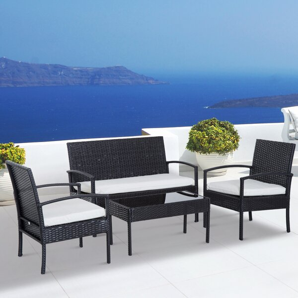 Belinda Outdoor 4 Piece Rattan Sofa Seating Group with Cushions by Wrought Studio